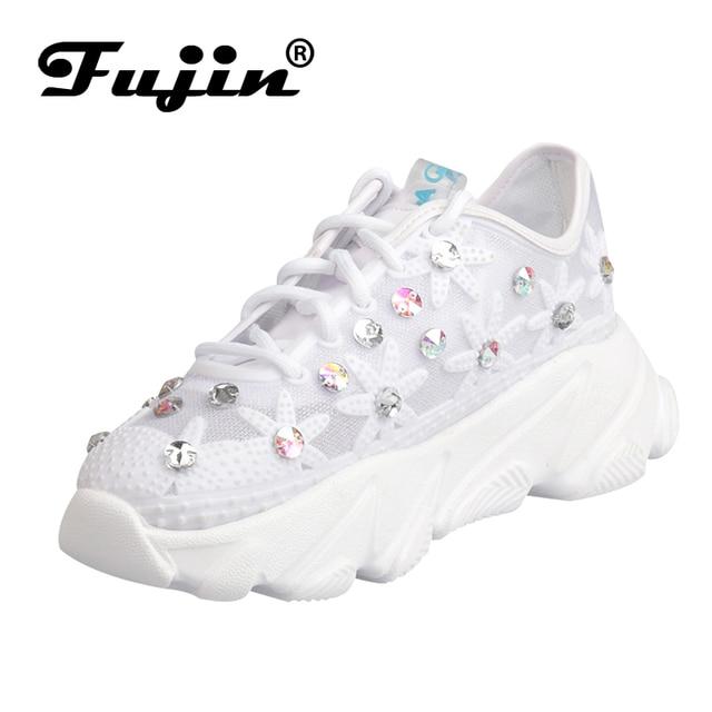 Fujin Kadın Sneakers Lüks Ayakkabı Kadın Kristal Bling Örgü Nefes Kalın Alt Moda Bayan Ayakkabıları Yaz Ayakkabı