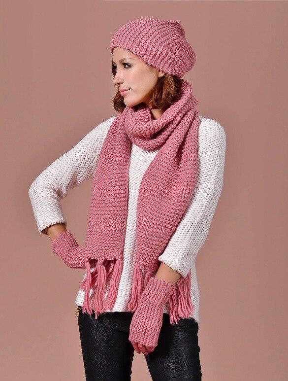 Knitted Winter Hats For Women's Hat Scarf Glove Set 3 Piece Sets With Tassels Stripes Cap Gorros Bonnet Wool Beanie Skullies