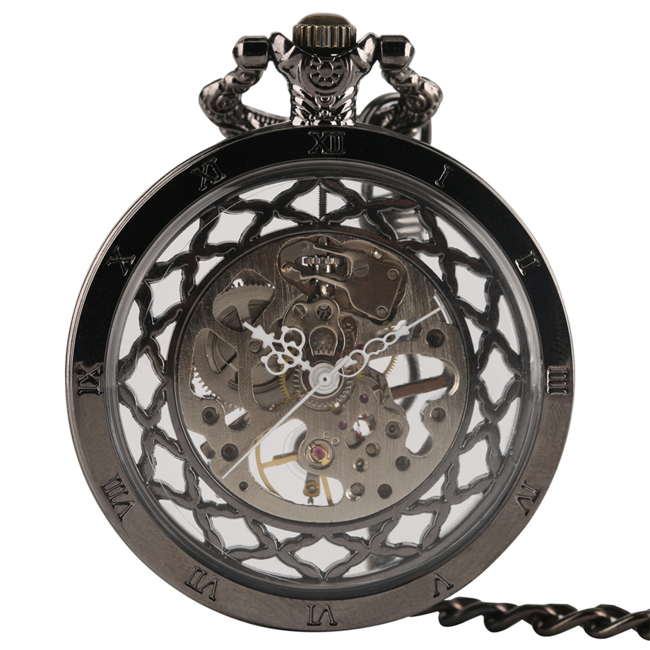 Stylish Hollow Design Exquisite Hand-wind Mechanical Pocket Watch Women Luxury Necklace Retro Mechanical Hand Winding Bronze