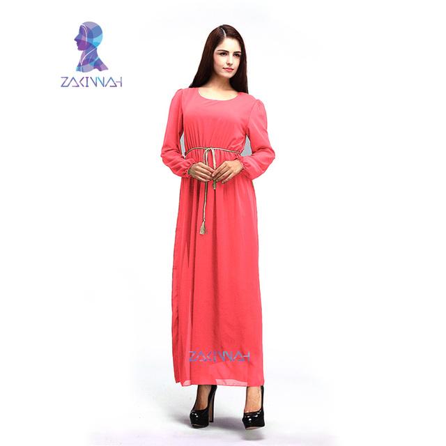 10700 venta Caliente del color del caramelo abaya con señoras de la correa de oro de gasa abaya abaya musulmán de manga larga vestido con forro completo