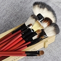 Quality Nature Hair Makeup Brush Set White Hair Red Handle Cosmetics Brush Kit Tools with Case 22pcs