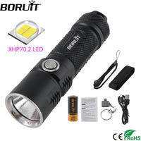BORUiT BC10 XHP70 LED Flashlight 6 Mode USB Charger Torch Max 3600LM Power Bank Lantern Camping Flash Lamp by 26650 Battery