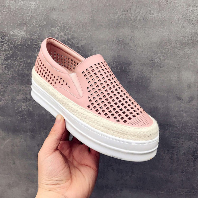 Fashion Genuine Leather Loafers Women Flats Ladies Creepers Shoes Woman Espadrilles Chaussure Femme Summer Mesh Shoes Plus Size weweya 2017 summer candy colors ladies flats fashion pointed toe shoes woman new flat shoes women plus size chaussure femme