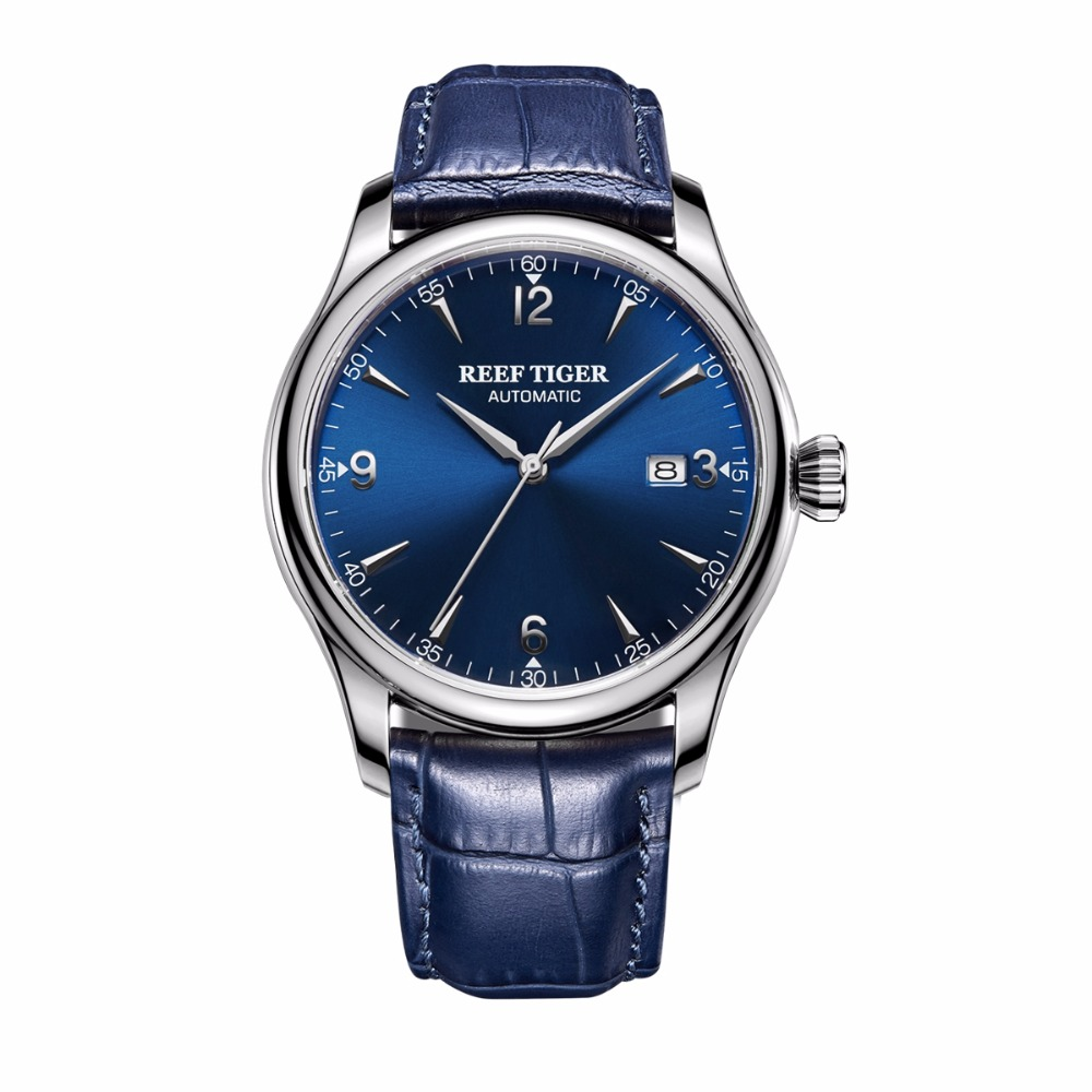 Reef Tiger/RT Dress Men's Automatic Watches Stainless Steel Blue Dial Leather Strap Watch with Date RGA823G vik max adult kids dark blue leather figure skate shoes with aluminium alloy frame and stainless steel ice blade