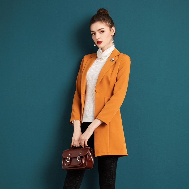 Blazer Women Autumn Winter Coat England Style Slim Fashion Turndown Collar Single Button Solid Color Casual Coats Female S-XXXL