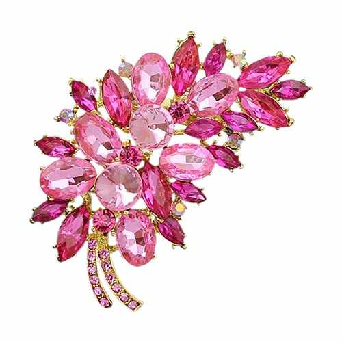Classic Feather Flower Rhinestone Brooches For Women Broach Pin Banquet Badge Breastpin Hijab Scarf Corsage Coat Sweater Clips