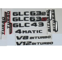 3D Matt Black Trunk Letters Badge Emblem Emblems Badges Sticker for Mercedes Benz GLC43 GLC63 GLC63s V8 V12 BITURBO AMG 4MATIC