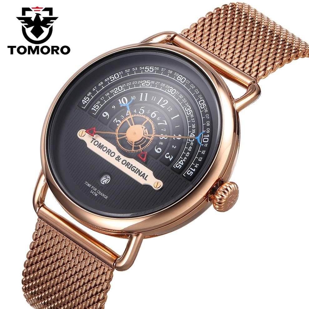 TOMORO 2017 Creative Homme XFCS Rose Or Bracelet En Maille De Luxe Marque Hommes Mode Sport Quartz Horloge Geek Livraison Style Date montres
