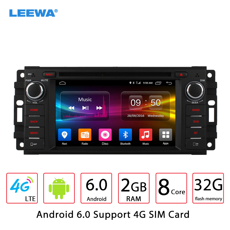 LEEWA Android 6.0 (64bit) DDR3 2G/32G/4G Car DVD GPS Radio For Dodge RAM-1500/2500/3500/Avenger/Caliber/Challenge/Dakota/Dura leewa 7 android 6 0 64bit ddr3 2g 32g 4g lte octa core car dvd gps radio head unit for ford transit connect tourneo connect