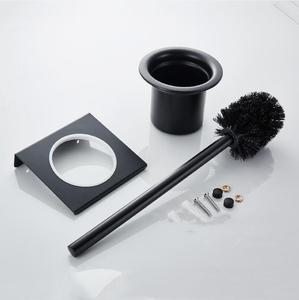 Image 5 - Modern Wall Mounted 304 Stainless Steel Black Toilet Brush Holder With Stainless Steel Cup, Bathroom Wall Hanging Storage Shelf
