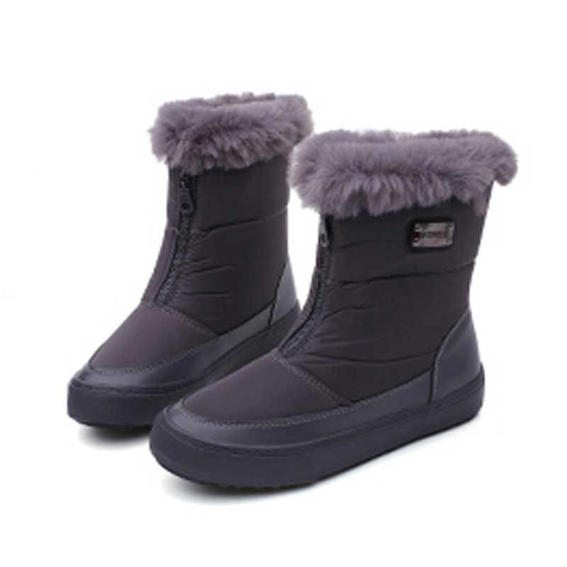 Kış Kadın Çizmeler Orta Buzağı Botlar Kadın Su Geçirmez Bayan Kar Botları Kızlar Kış Ayakkabı Kadın Peluş Astarı Botas mujer