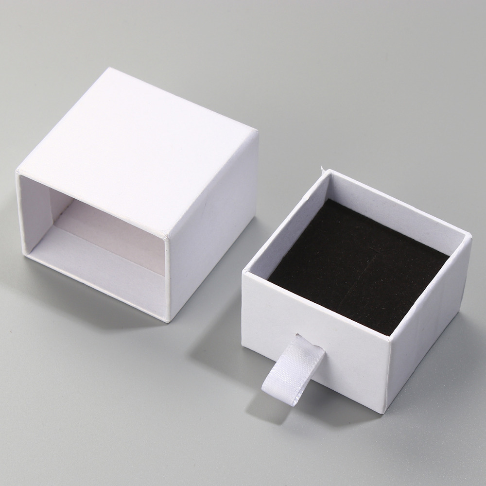 DoreenBeads Paper Boxes Jewelry Rings Necklace Gift Packing Display Rectangle White Color Wholesale Dropshipping, 2 PCs