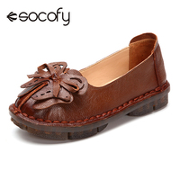 Socofy Butterfly knot Vintage Flat Shoes Women Flats Genuine Leather Loafers Casual Shoes Woman Slip on Luxury Working Flats New