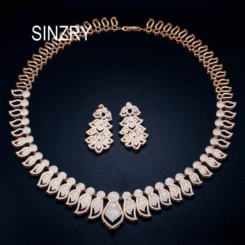 SINZRY Excellent Micro Paved Cubic Zirconia Big African Dubai Gold bridal Necklace Earrings Jewelry Sets for Women Wedding