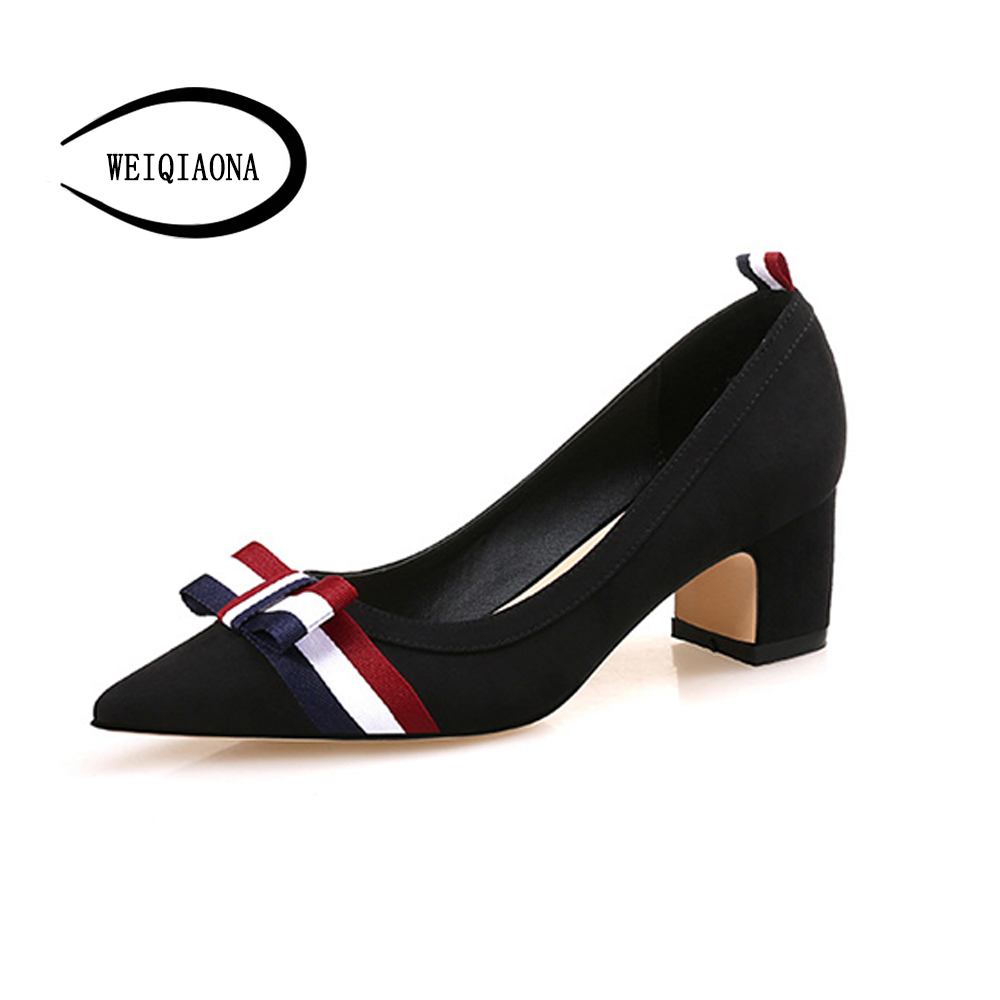 WEIQIAONA Women Chunky Heels Pumps elegant 3 color ribbons Bow tie Pointed Toe High Heels Lady OL Comfortable Shallow Shoes top sale spring women fashion pumps high heels shallow mouth fine with floral elegant pointed toe ol shoes work wear comfortable