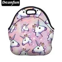 Deanfun Unicorn Lunch Bag 3D Printed Cartoon 2017 New Fashion Neoprene Waterproof Zipper For Picnic Women