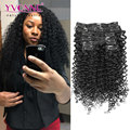 Malaysian Curly Human Hair Clip in Extensions,Brazilian Virgin Hair Clip in Extension,7Pcs/set,12-28 Inches in Stock,Color 1B