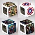 Marvel Мстители Сигнализации Часы Ночной Свет Площади СВЕТОДИОДНЫЙ Цветной Цифровой Электронные Часы Америка Аниме Игрушки Небольшой Подарок