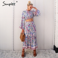 Simplee Boho Chic Floral Print Two Piece Suits Women Flare Sleeve Tassel Long Skirt Suit Casual