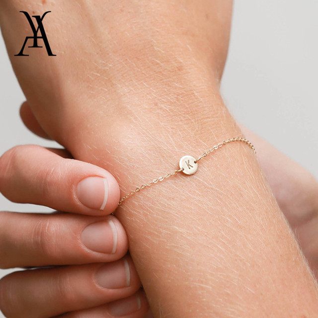 Hand Stamped Personalized Initial Letter Bracelets for Women Gold Color Engraved A-Z Initial Disc Name Bracelet Name Jewelry