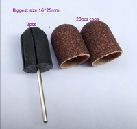 16 25 Mm Biggest 20PCS Nail Sanding Bands Cap Manicure File Tools 2PCS Nail Salon Rubber