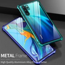 For Huawei P30 Lite P30Pro Case Clear Metal Frame Back Glass Aluminum Bumper Cover for Huawei