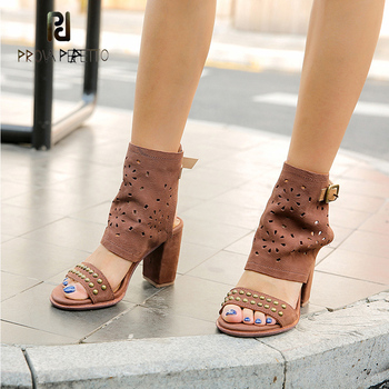 Prova Perfetto new arrival rivets euramerican style chunky high heel sandals summer carving buckle strap gladiator sandals women