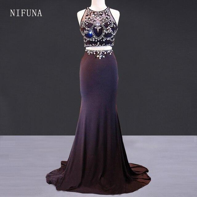 f667fbbb550f7b Nieuwe Collectie Jurken Sexy Tweedelige Prom Dress 2018 Galajurken Lang  Luxe Crystal Kralen Black Mermaid Lange
