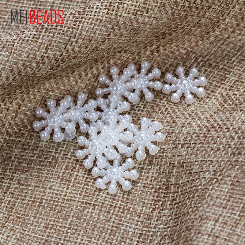 MEIBEADS шт./пакет 100 15 мм Снежинка бусины имитаций жемчуг с плоской стороной для ремесла книги по искусству Скрапбукинг UF5687
