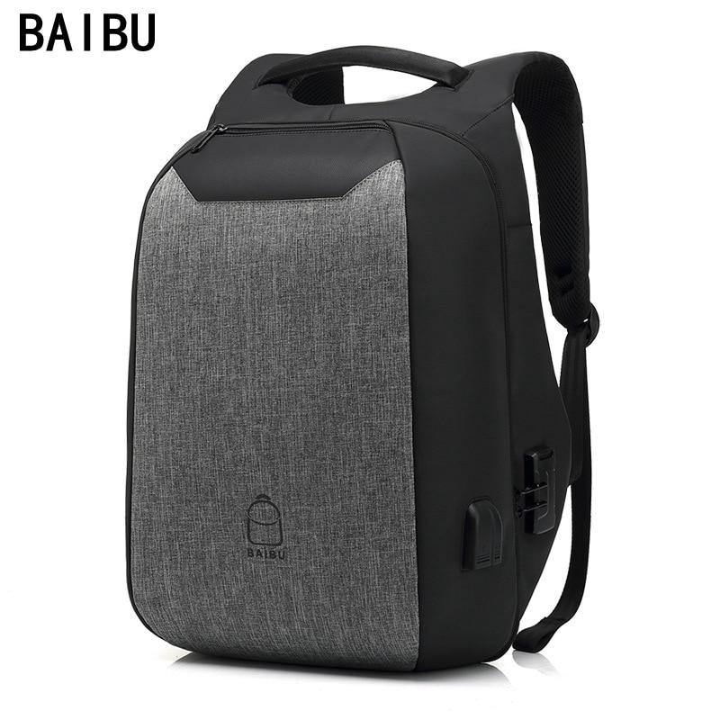"BAIBU Multifunctionele wachtwoord Rugzak reizen Anti diefstal 15.6 ""Laptop Tassen waterdichte USB Charge Poort Tiener School Rugzakken-in Rugzakken van Bagage & Tassen op  Groep 1"