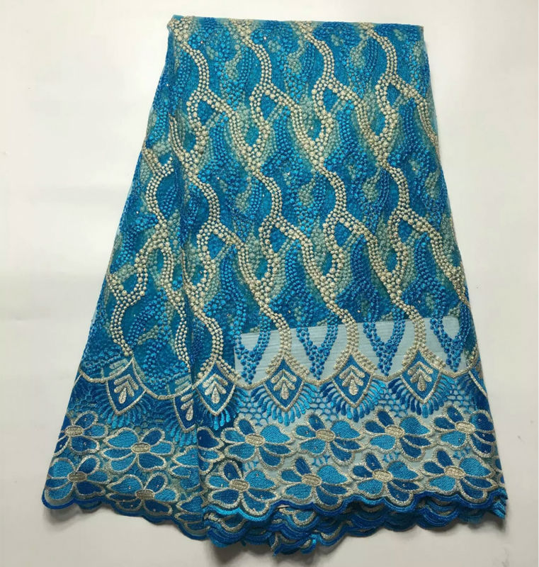 New Design Blue High Quality African Tulle Fabric With Stones White Nigeria Lace African French Lace