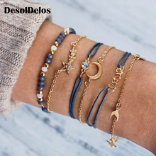 2019 New Fashion Bracelets for Women Creative Stars Moon Love Bead Bracelet Rope and Gold Chain 6 PCS SET Gifts