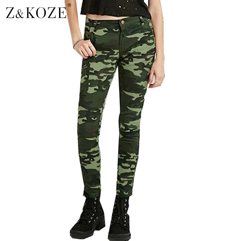 Z&KOZE S-5XL Camo Print Skinny Women Jeans Femme Camouflage Cropped Pencil Legging Pants Trousers Military Capris Army Pant inc new solid white women s size 0 knitted capris cropped pants $59 056
