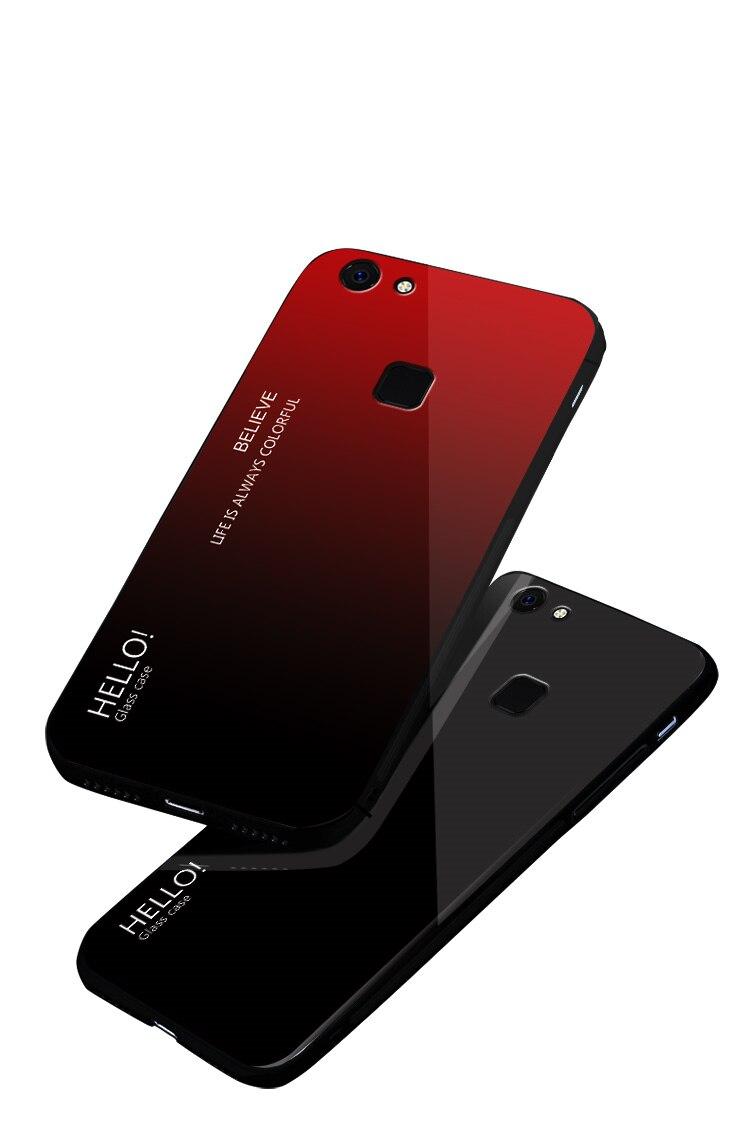 Tempered Glass Case for vivo v7 plus v7 Gradient Color Back Cover for VIVO V7 Plus Soft Silicone Bumper For vivo v7 plus Case in Fitted Cases from Cellphones Telecommunications