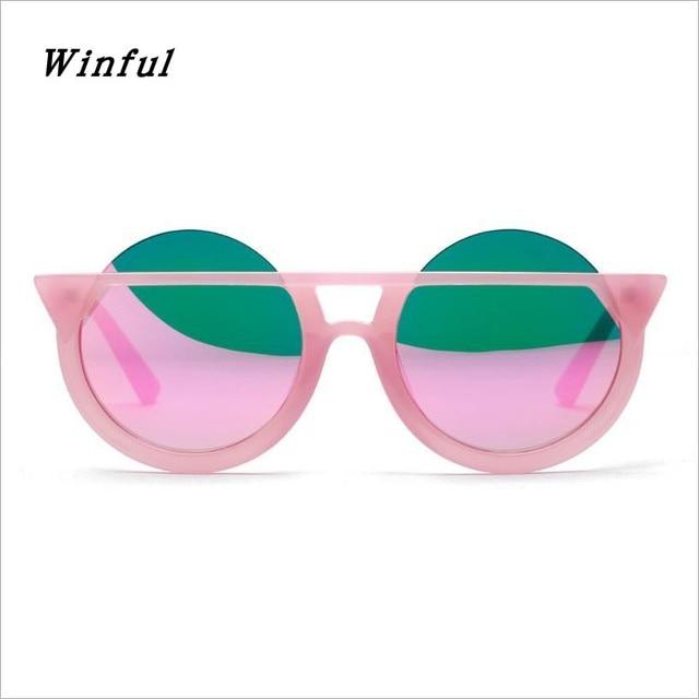 Personalidade Do Gato Olho quadro Óculos De Sol Das Mulheres Grande Rodada de Revestimento Reflexivo lente Rosa óculos de sol da moda eyewear Legal Novidade