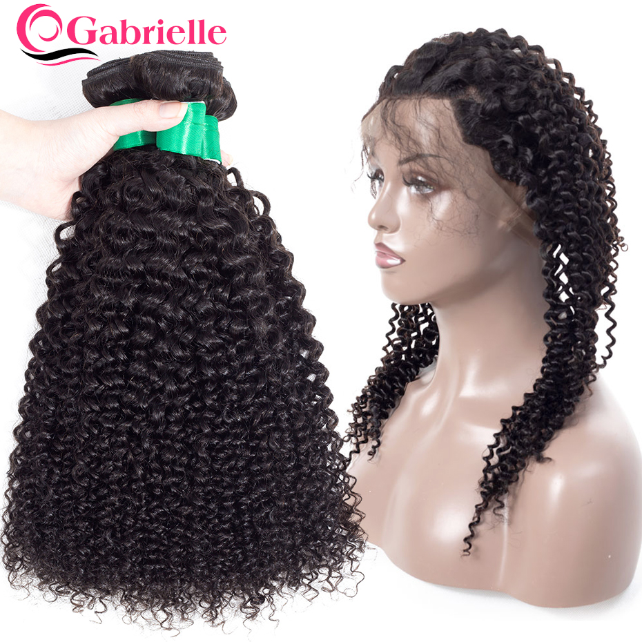3/4 Bundles With Closure Malaysian Human Hair Bundles With Lace Frontal Non Remy Kinky Curly 3 Bundles With Frontal 8-26 Inch Ear To Ear Lace Frontal Human Hair Weaves