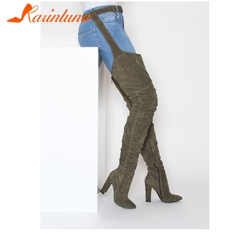 KARINLUNA 2019 New Fashion Women Boots Winter Over Knee Long Boots Heels Faux Suede Quality Comfort Block Heels Slim Tight High