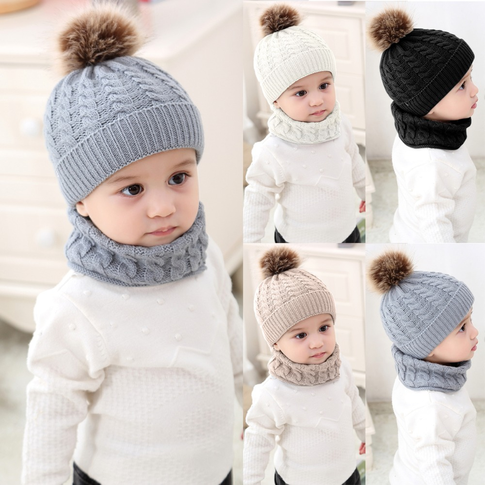 Puseky 1 Set Baby Hat Scarf Winter Fur Ball Knitted Warm Newborn Beanie Solid Color Protect Ear Cap O Ring Scarves cap bonnet winter letter decorated flanging knitted fuzzy ball beanie