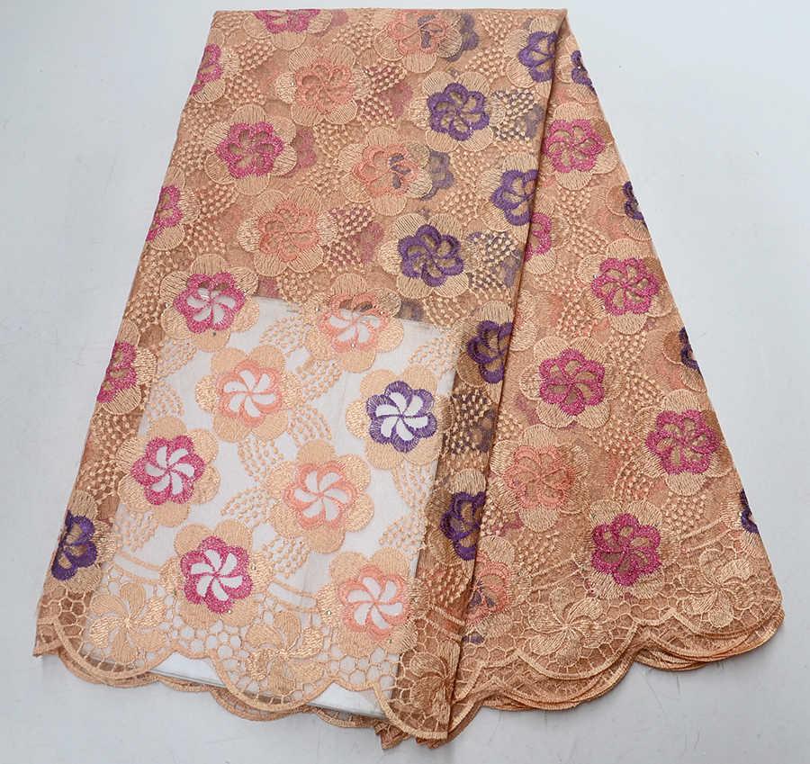 Più nuovo Stile di Pesca di Colore Nigeriano Tessuti di Pizzo 2019 di Alta Qualità Tulle Africano Lacci Da Sposa In Tessuto Francese di Tulle Del Merletto Materiale