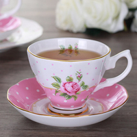 Bone Chinese Flower Cup AfternoonKung Fu European Vintage Beautiful Vintage Coffee Cappuccino Cups Saucer Household Items 5B5023