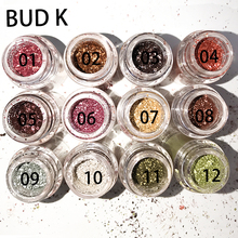 BUD K 12Colors Glitter Eye Shadow Cosmetic Makeup Diamond Lips Loose Makeup Eyes Pigment Powder Woman Cosmetics Make Up