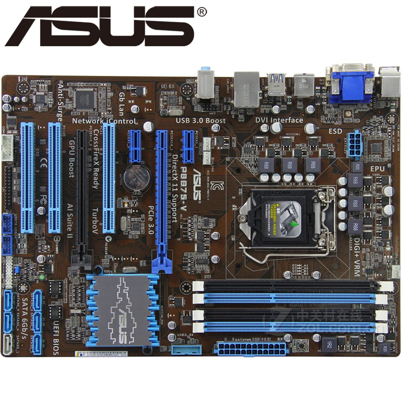 Asus P8B75-V Desktop Motherboard B75 Socket LGA 1155 i3 i5 i7 DDR3 32G uATX UEFI BIOS Original Used Mainboard On Sale asus p8b75 m lx desktop motherboard b75 socket lga 1155 i3 i5 i7 ddr3 16g uatx uefi bios original used mainboard on sale