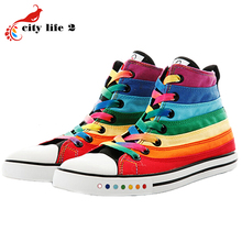 Rainbow High Top font b Woman b font shoes 2015 New Arrived Female Casual Canvas Shoes