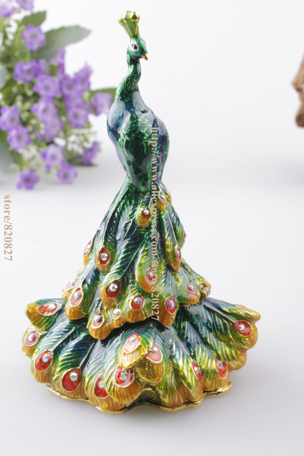 Pretty Peacock Hinged Pewter Trinket Box Product Details Peacock Jeweled Crystal Trinket Box Peacock Hinged Pewter Trinket Box