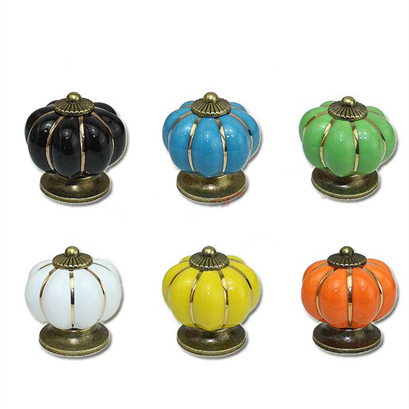 Wholesale Vintage Pumpkin Cabinet Knobs Furniture Handles Ceramic Door Knob Cabinet Drawer Cupboard Kitchen Pull Handle Knobs pastoralism pumpkin ceramic knob kitchen ceramic door cabinets cupboard knob and handles 1pcs