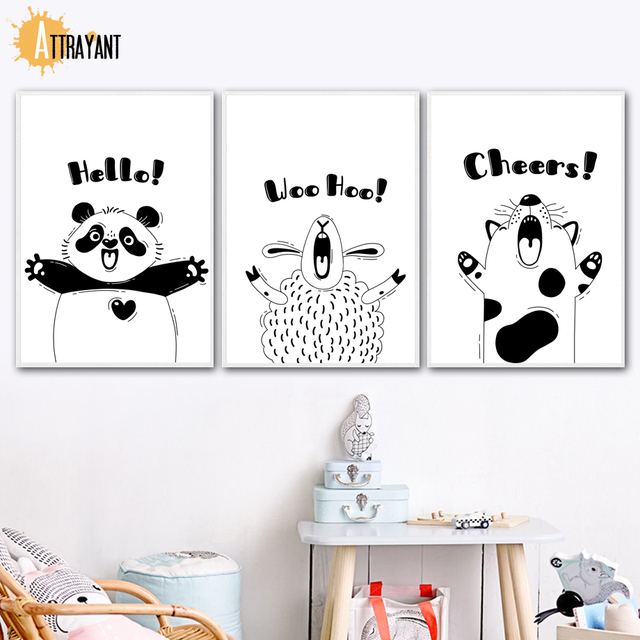 Black White Cartoon Panda Sheep Dog Quotes Wall Art Canvas Painting Nordic Posters And Prints Wall Pictures Baby Kids Room Decor