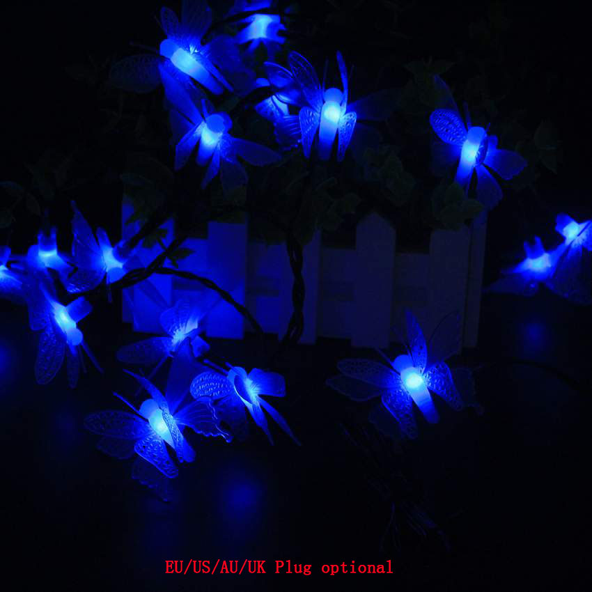 10M 100LED Waterproof Butterfly led string DC12V with DC remote controller Fairy light holiday decoration outdoor street Garden in LED String from Lights Lighting