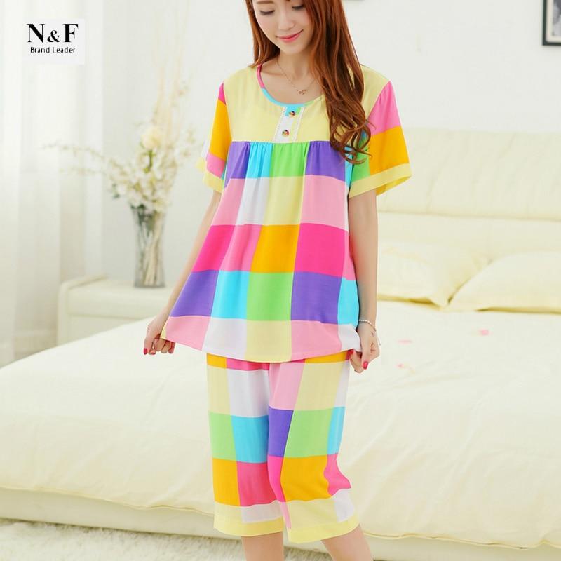 tessuti pregiati ottima qualità seleziona per originale US $19.11 |XXL Plus Size pantaloncini estivi Cotone set pigiami delle donne  da notte pigiama indumenti da notte delle donne di stile di estate ...