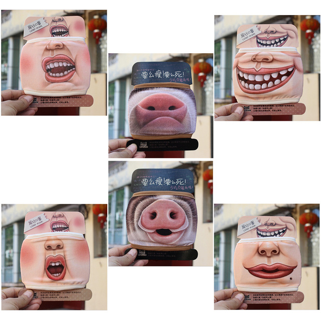 1Pc Villain Joke Masks Funny Expression Pig Lower Half Face Cotton Face Mask Festive Christmas Masquerade Party Cosplay Supplies 1