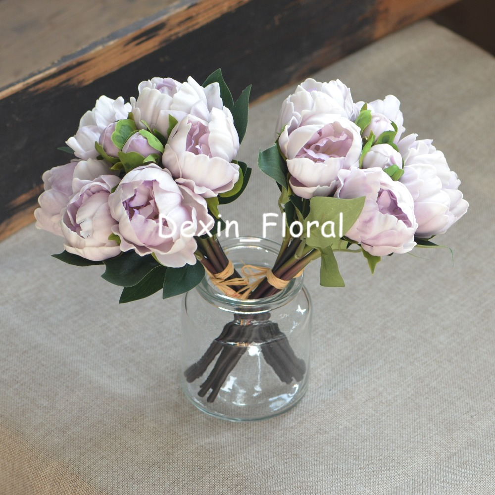 Us 359 2 Bundles Lilac Peonies Real Touch Peonies For Diy Wedding Bouquets Bridesmaids Bouquets Wedding Centerpieces In Artificial Dried Flowers